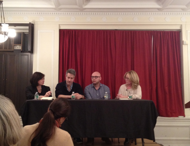 Noreen Tomassi leads the panel discussion with Darin Strauss, Adam Wilson, and Dani Shapiro at the Center for Fiction