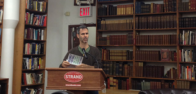 Steve Almond reading from Against Football, his memoir / manifesto / examination of the sport he loved but can't watch. He read at The Strand in Manhattan alongside Stephen Elliott of the Rumpus