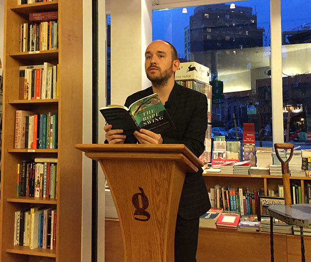 Jonathan Corcoran reads THE ROPE SWING, his debut collection of stories, at Brooklyn's Greenlight Bookstore