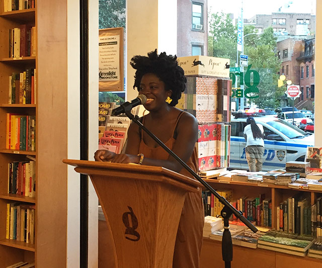 Yaa Gyasi, author of HOMEGOING reading at Greenlight Bookstore in Brooklyn