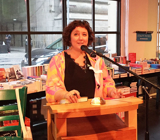 Julia Fierro, founder of the Sackett Street Writers Workshop and author of CUTTING TEETH, read from her new novel THE GYPSY MOTH SUMMER at Powerhouse Archway in Brooklyn, New York